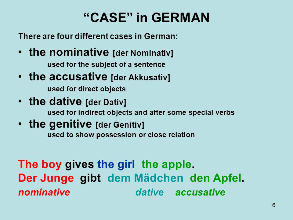 CASE in GERMAN There are four different cases in German: the nominative [der Nominativ] used for the subject of a sentence.
